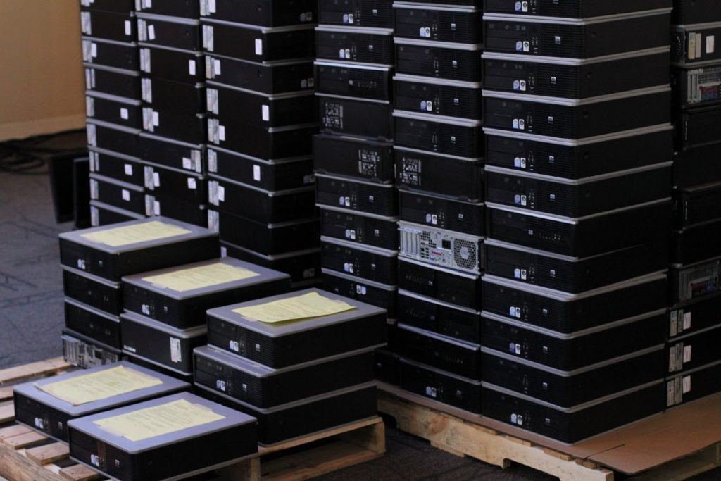 Donated computers ready for processing